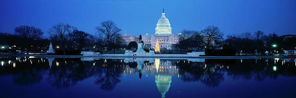 Scenics Art Print featuring the photograph Us Capitol And Christmas Tree by Walter Bibikow