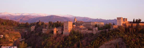 Scenics Art Print featuring the photograph View To The Alhambra At Sunset by David C Tomlinson