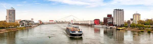 Panoramic Art Print featuring the photograph Rhine (Rhein) - Ludwigshafen - Mannheim by Achim Lammerts