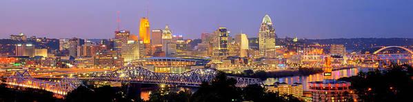 Cincinnati Skyline Art Print featuring the photograph Cincinnati Skyline at Dusk Sunset Color Panorama Ohio by Jon Holiday