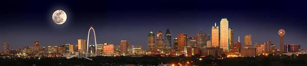 Dallas Skyline Night Art Print featuring the photograph Dallas Skyline at Dusk Big Moon Night by Jon Holiday