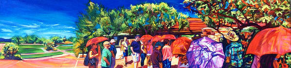 Southwest Art Print featuring the painting Taliesin Pilgrims by Bonnie Lambert