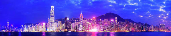 Downtown District Art Print featuring the photograph Hong Kong City Skyline In China by Deejpilot