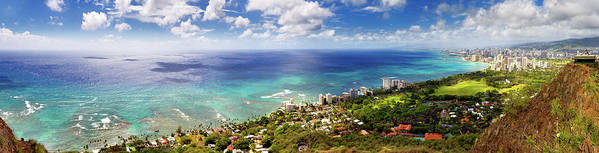 Tranquility Art Print featuring the photograph Panorama Of Waikiki Beach by Anna Gorin