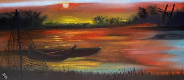 Sunset Art Print featuring the painting African Sunset by Martha Mullins