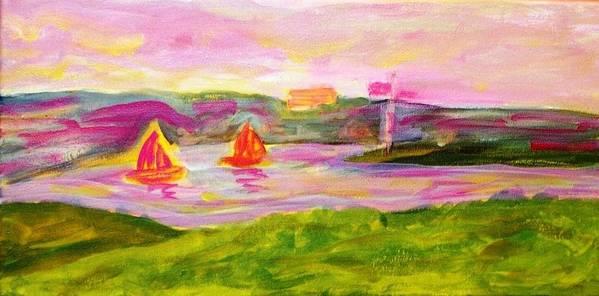 Landscape Art Print featuring the painting Hamilton Harbour by Rashne Baetz