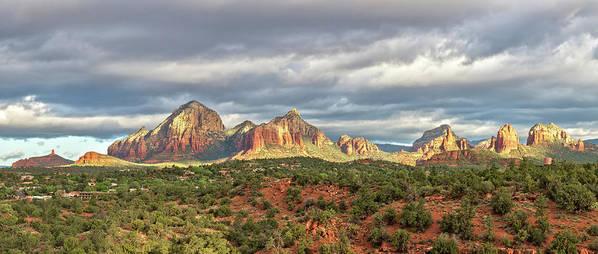 Scenics Art Print featuring the photograph Sedona, Arizona And Red Rocks Panorama by Picturelake