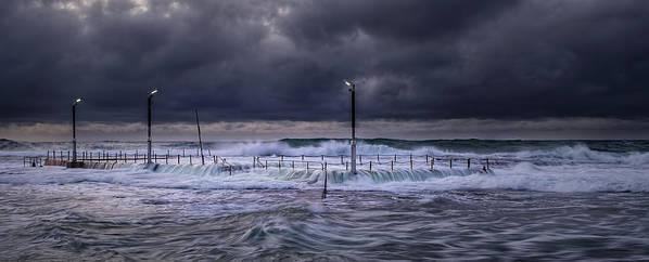 Panoramic Art Print featuring the photograph Stormy Ocean, Monavale Beach, Australia by Bert