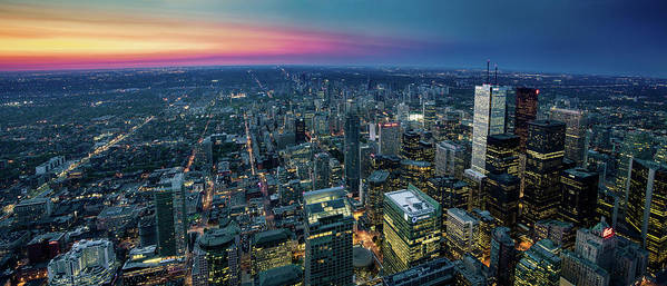 Downtown District Art Print featuring the photograph Toronto Downtown City At Night by D3sign