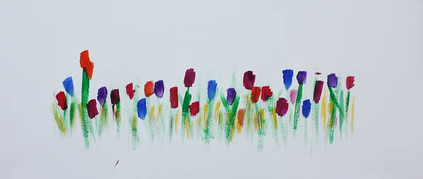Flower Art Print featuring the painting Tulip Garden by Tom Atkins