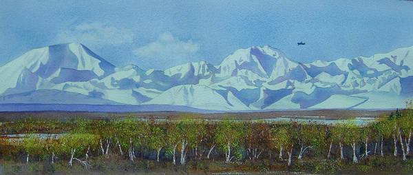 Denali Art Print featuring the painting Denali Park Alaska by Teresa Boston
