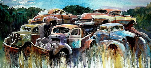 Trucks Cars Rust Art Print featuring the painting Heaped Heaps by Ron Morrison