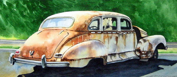 Hudson Car Rust Restore Art Print featuring the painting Hudson Waiting For a New Start by Ron Morrison