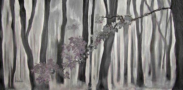 Landscape Art Print featuring the painting Mauve Leaves by Laura Gabel