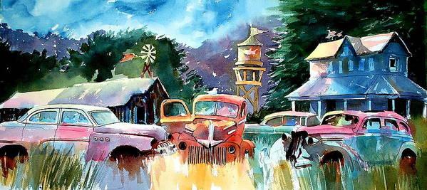 Landscape Watertower Art Print featuring the painting The Sign of the Fish on the Watertower by Ron Morrison