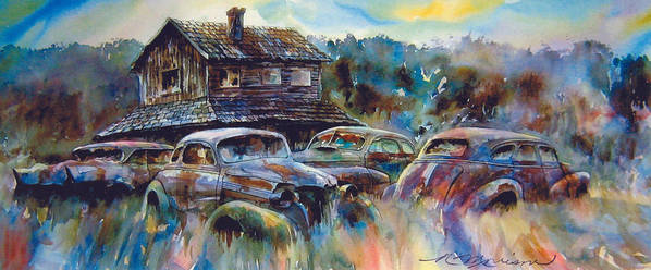 Old Rusty Dilapidated Cars House Art Print featuring the painting The Wide Spread by Ron Morrison