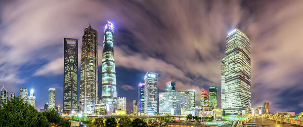 Panoramic Art Print featuring the photograph Shanghai Skyline by Junyyeung