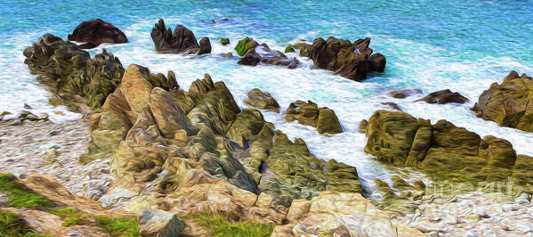 Mexico Art Print featuring the digital art Ocean Rocks In Puerto Vallarta Mexico by Kenneth Montgomery