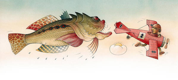 Angry Fish Airplane Flight Fluing Sky Persuit Dramatic Bigfish Art Print featuring the drawing Angry fish by Kestutis Kasparavicius