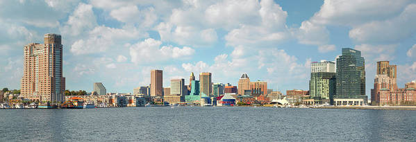 Downtown District Art Print featuring the photograph Baltimore Skyline And Inner Harbor by Greg Pease