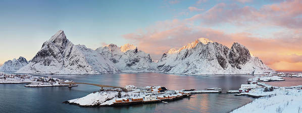 Tranquility Art Print featuring the photograph Lofoten Islands Winter Panorama by Esen Tunar Photography