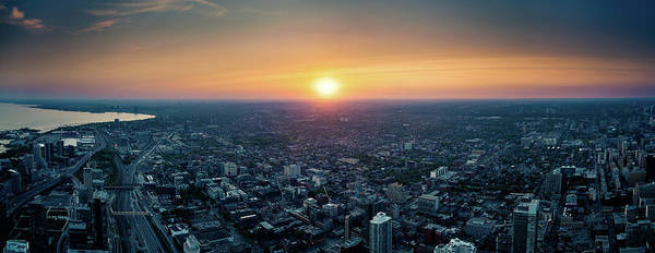 Downtown District Art Print featuring the photograph Sunset Over Toronto Downtown City by D3sign