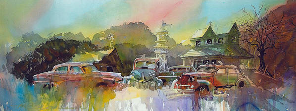 Rusty Old Cars Art Print featuring the painting Derelicts on Duty by Ron Morrison