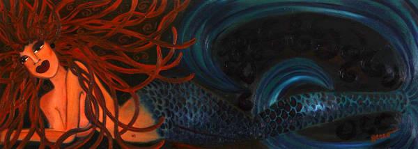 Mermaids Artwork Art Print featuring the painting Mermaid Katheryn  by Helen Gerro