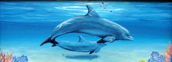 Dolphin Art Print featuring the painting Momma by Darlene Green