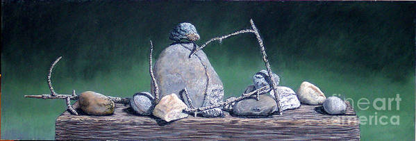 Still Life Art Print featuring the painting Sticks And Stones by David Francis