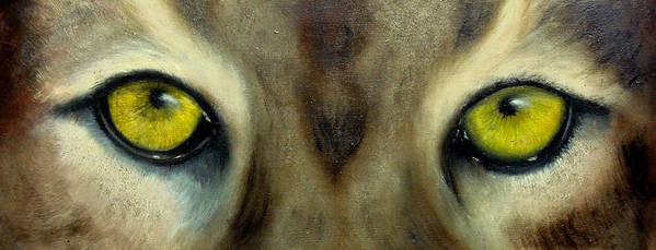 Eyes Art Print featuring the painting Who's watching who...Florida Panther by Darlene Green