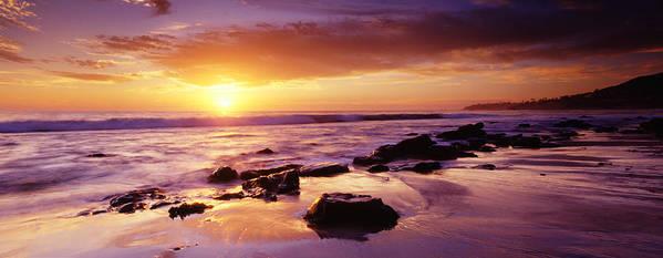 Scenics Art Print featuring the photograph Sunset At Laguna Beach by Jason v