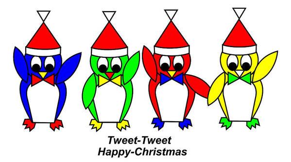 4 Penguin Sons Of Santa Wish You A Merry Christmas Art Print featuring the digital art 4 Penguin sons of Santa wish you a Merry Christmas by Asbjorn Lonvig