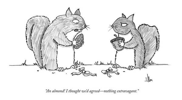 Exchanging Gifts Art Print featuring the drawing A Squirrel Couple Exchange Gifts Of An Acorn by Andrew Hamm