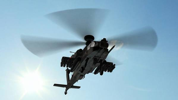 Wind Art Print featuring the photograph Armed Longbow Apache Helicopter In by Bestgreenscreen