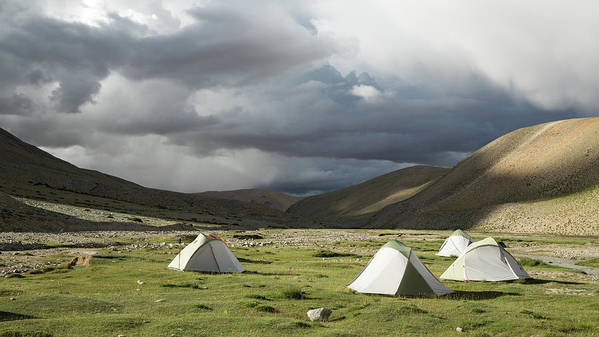 Tranquility Art Print featuring the photograph Atmospheric Grassy Camping by Jamie Mcguinness - Project Himalaya