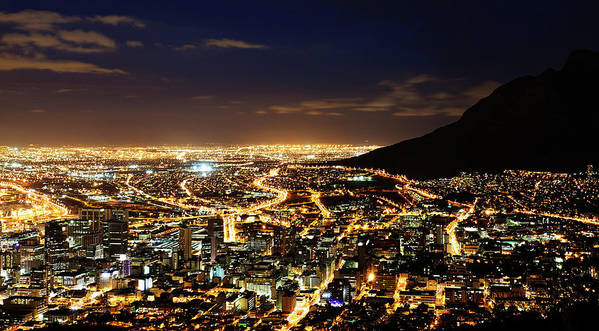 Scenics Art Print featuring the photograph Cape Town, South Africa By Night by Clicknique