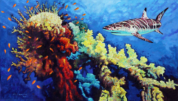 Shark Art Print featuring the painting Looking for Fast Food by John Lautermilch