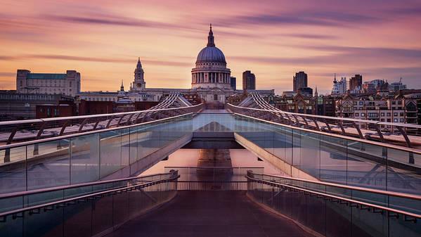 London Millennium Footbridge Art Print featuring the photograph Millennium Bridge Leading Towards St by Roland Shainidze Photogaphy
