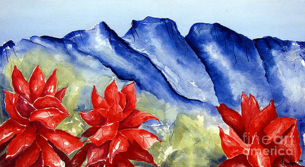 Mountains Art Print featuring the painting Monterrey Mountains with Red Floral by Kandyce Waltensperger
