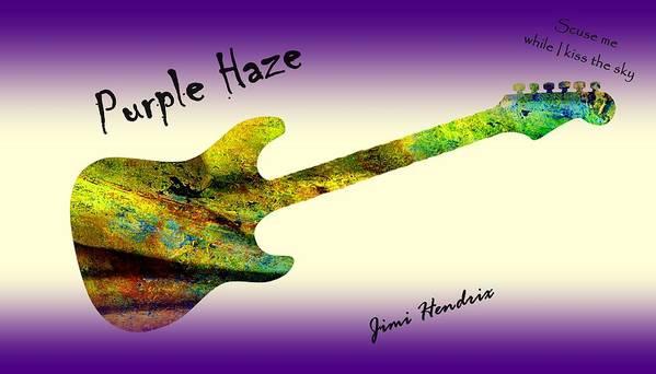 Jimi Hendrix Art Print featuring the painting Purple Haze Scuse Me While I Kiss the Sky Hendrix by David Dehner