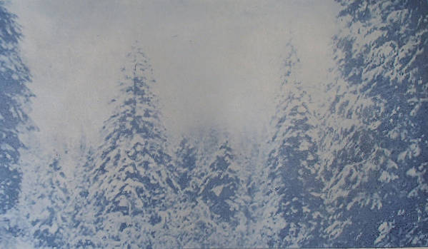 Yosemite Art Print featuring the painting Snowfall in Blue by Philip Fleischer