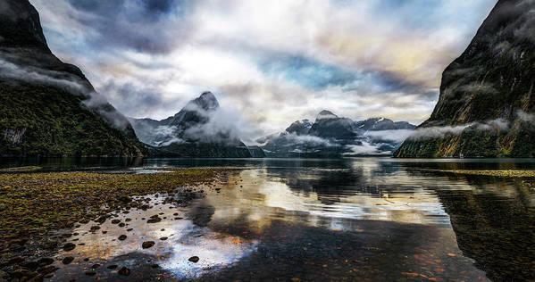 Scenics Art Print featuring the photograph Sound Asleep   Fiordland, New Zealand by Copyright Lorenzo Montezemolo