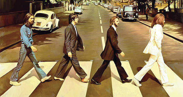 The Beatles Abbey Road Paintings Art Print featuring the painting The Beatles Abbey Road Artwork by Sheraz A