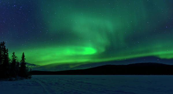 Snow Art Print featuring the photograph The Green Light Of The Aurora by Dave Moorhouse