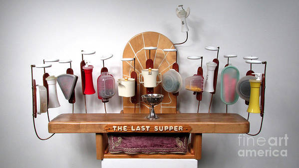 Czappa Art Print featuring the sculpture The Last Supper With Tupperwear  by Bill Czappa