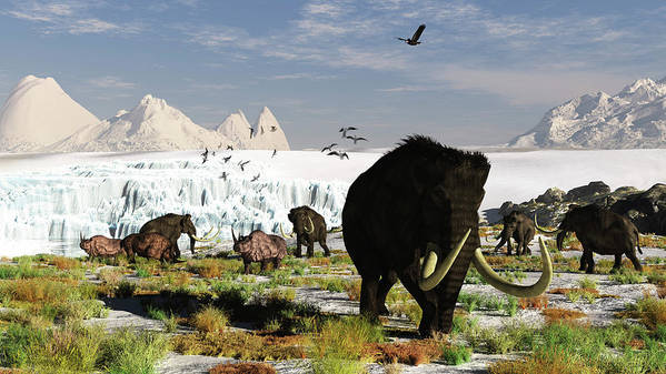 Prehistoric Era Art Print featuring the digital art Woolly Mammoths And Woolly Rhinos In A by Arthur Dorety/stocktrek Images