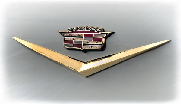 Cadillac Art Print featuring the digital art Gold Badge Cadillac by Douglas Pittman