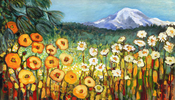 Rainier Art Print featuring the painting A Mountain View by Jennifer Lommers