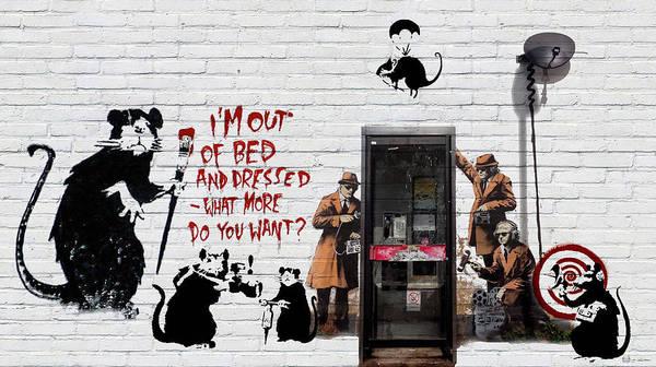 �urban Graffiti� Collection By Serge Averbukh Art Print featuring the photograph Banksy - The Tribute - Rats by Serge Averbukh